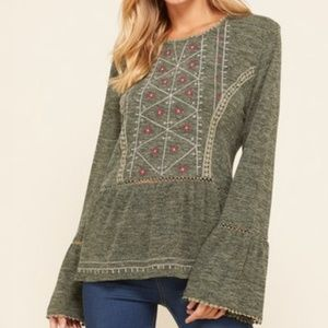 Annabelle USA Olive Embroidered Bell Sleeve